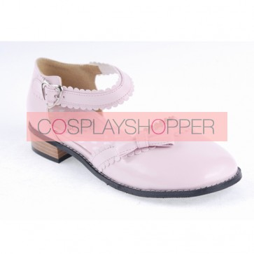 """Pink 1"""" High Heel Special Patent Leather Round Toe Ankle Straps Polka Dot Pattern Insole Platform Girls Lolita Shoes"""