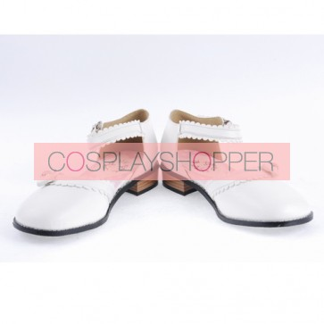 "White 1"" High Heel Classical PU Round Toe Ankle Straps Bowknot Platform Girls Lolita Shoes"