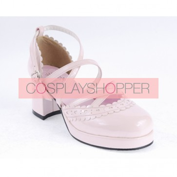 "Pink 2.6"" High Heel Sexy Synthetic Leather Round Toe Criss Cross Straps Scalloped Platform Girls Lolita Shoes"