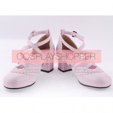 "Pink & White 2.6"" High Heel Glamorous Polyurethane Round Toe Criss Cross Straps Scalloped Platform Girls Lolita Shoes"