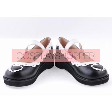 "Black & White1.2"" High Heel Lovely Polyurethane Round Toe Strap Heart Decoration Platform Girls Lolita Shoes"