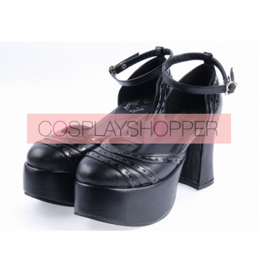 "Black 3.7"" High Heel Adorable Synthetic Leather Pointed Toe Ankle Straps Platform Girls Lolita Shoes"