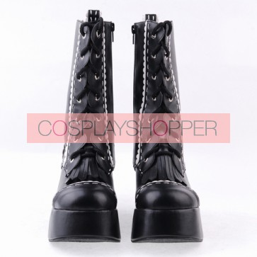 "Black 3.5"" High Heel Stylish Patent Leather Round Toe Mid-calf LadyLolita Boots"