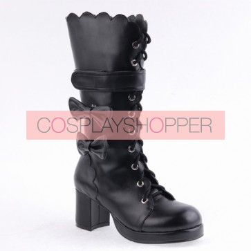 "Black 2.6"" Heel High Special PU Round Toe Bow Platform Lady Lolita Boots"