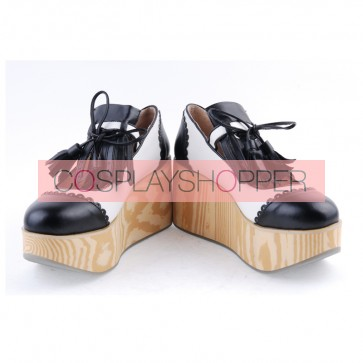 "Black & White 3.1"" High Heel Cute PU Rocking HorsePlatform Girls Lolita Shoes"