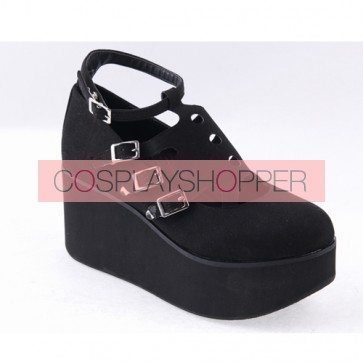 "Black 3.1"" High Heel Gorgeous Flannel Round Toe Japanese Punk Buckle Platform Girls Lolita Shoes"