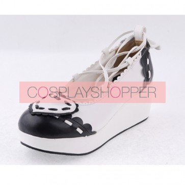 "Black & White 2.4"" High Heel Elegant Patent Leather Scalloped Criss Cross Lace Tie Platform Girls Lolita Shoes"