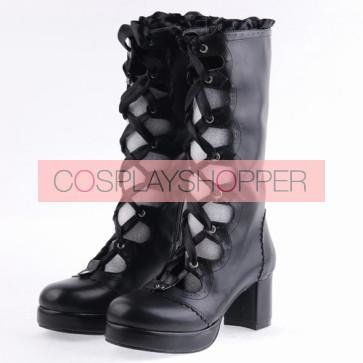 "Black 2.6"" Heel High Sexy Suede Round Toe Criss Cross Straps Platform Lady Lolita Boots"