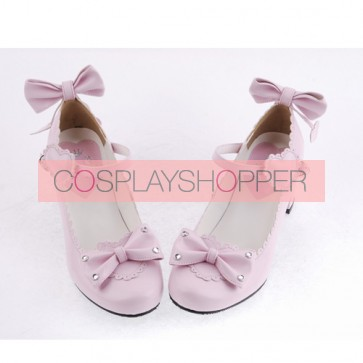 "Pink 2.6"" Heel High Beautiful Patent Leather Point Toe Bow Platform Women Lolita Shoes"