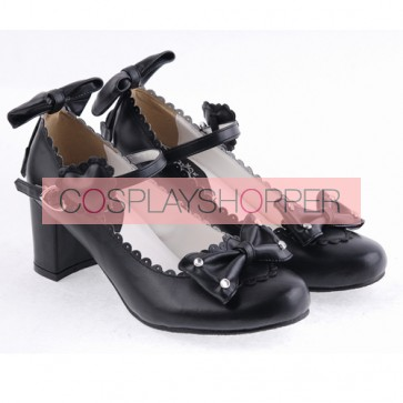 "Black 2.6"" Heel High Beautiful Patent Leather Point Toe Bow Platform Women Lolita Shoes"