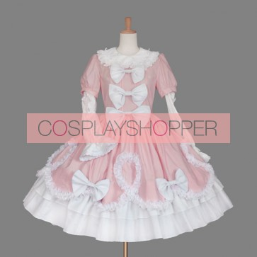 Pink And White Round Neck Bow Lovely Sweet Lolita Dress