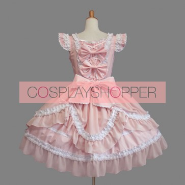 Pink Bows Ruffles Cotton Cute Sweet Lolita Dress