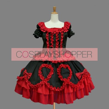 Black And Red Short Sleeves Bandage Gothic Lolita Dress