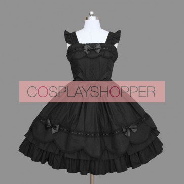 Black Bows Ruffles Elegant Cotton Gothic Lolita Dress