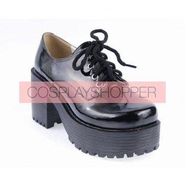 "Black 3.1"" High Heel Classic Polyurethane Round Toe Army Style Platform Girls Lolita Shoes"