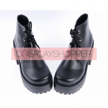 "Black 2.2"" High Heel Special Polyurethane Lace Tie Platform Girls Lolita Shoes"