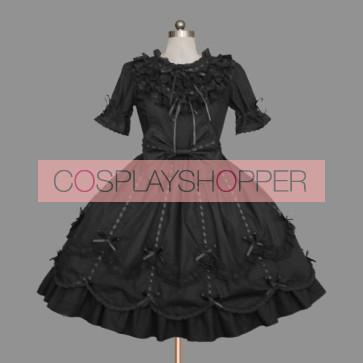 Black Short Sleeves Round Neck Cotton Gothic Lolita Dress
