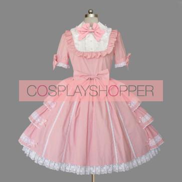 Pink Short Sleeves Turndown Collar Cotton Sweet Lolita Dress