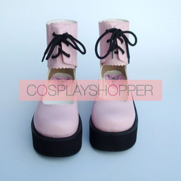 "Pink 2.6"" Heel High Adorable PU Round Toe Cross Straps Platform Girls Lolita Shoes"