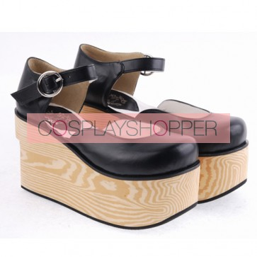"Black 3.7"" Heel High Adorable Suede Round Toe Cross Straps Platform Girls Lolita Shoes"