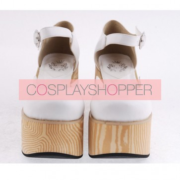 "White 3.7"" Heel High Lovely PU Round Toe Cross Straps Platform Girls Lolita Shoes"