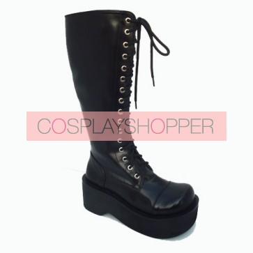 "Black 2.6"" Heel High Special Patent Leather Round Toe Cross Straps Platform Girls Lolita Boots"