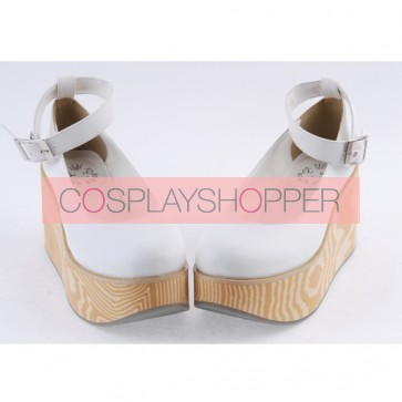 "White 3.1"" High Heel Adorable Polyurethane Pointed Toe Ankle Straps Platform Girls Lolita Shoes"