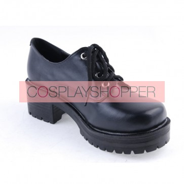 "Black 2"" High Heel Beautiful Synthetic Leather Round Toe Military Style Platform Girls Lolita Shoes"