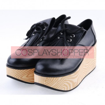 "Black 3.1"" High Heel Stylish PU Rocking HorseLace Tie Platform Girls Lolita Shoes"