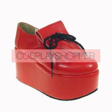 "Red 3.9"" Heel High Sexy Patent Leather Point Toe Ankle Straps Platform Girls Lolita Shoes"