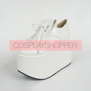 "White 3.9"" Heel High Cute Suede Point Toe Ankle Straps Platform Girls Lolita Shoes"