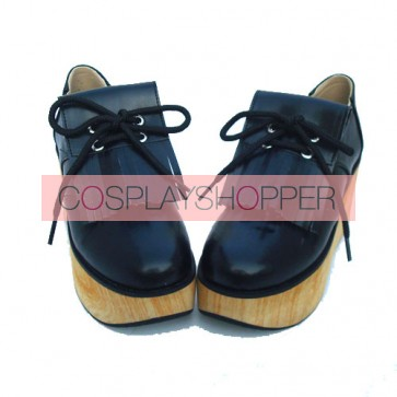 "Black 3.1"" Heel High Romatic Synthetic Leather Point Toe Ankle Straps Platform Girls Lolita Shoes"