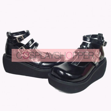 "Black 2.5"" Heel High Special Synthetic Leather Round Toe Ankle Straps Platform Lady Lolita Shoes"