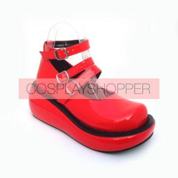 "Red 2.5"" Heel High Romatic Patent Leather Round Toe Ankle Straps Platform Lady Lolita Shoes"