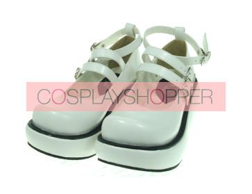 "White 2.5"" Heel High Sexy Polyurethane Round Toe Ankle Straps Platform Lady Lolita Shoes"