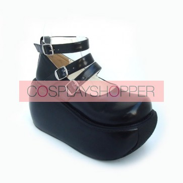 "Black 3.9"" Heel High Classic Synthetic Leather Round Toe Ankle Straps Platform Lady Lolita Shoes"