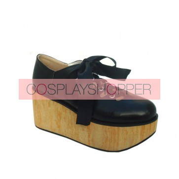"""Black 3.1"""" Heel High Lovely Patent Leather Round Toe Ankle Straps Platform Lady Lolita Shoes"""