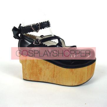 "Black 3.9"" Heel High Cute Polyurethane Round Toe Cross Straps Platform Lady Lolita Shoes"