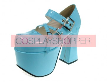 "Sky-Blue 4.9"" Heel High Classic Suede Round Toe Cross Straps Platform Lady Lolita Shoes"