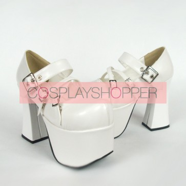 "White 4.9"" Heel High Gorgeous Suede Round Toe Cross Straps Platform Lady Lolita Shoes"