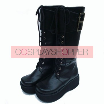 "Black 2.6"" Heel High Charming PU Round Toe Cross Straps Platform Lady Lolita Boots"