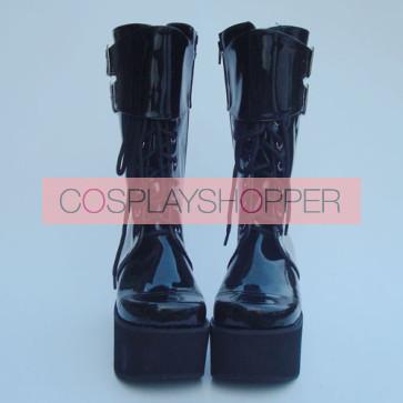"Black 3.5"" Heel High Beautiful Suede Round Toe Cross Straps Platform Girls Lolita Boots"