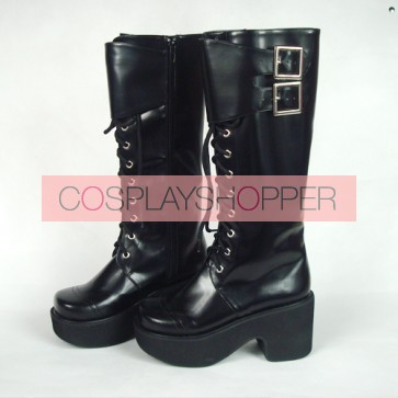 "Black 3.5"" Heel High Lovely Polyurethane Round Toe Cross Straps Platform Girls Lolita Boots"