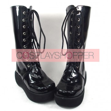 "Black 2.4"" Heel High Beautiful Synthetic Leather Round Toe Cross Straps Platform Girls Lolita Boots"