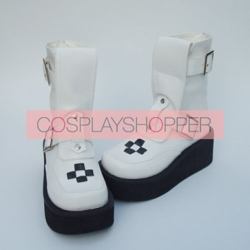 "White 2.8"" Heel High Cute Suede Point Toe Stud Buckles Platform Girls Lolita Boots"