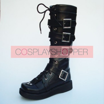 "Black 1.2"" Heel High Romatic Synthetic Leather Point Toe Cross Straps Platform Girls Lolita Boots"