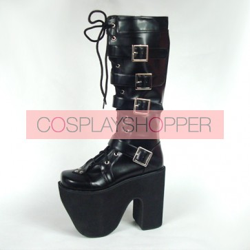 "Black 6.0"" Heel High Gorgeous Polyurethane Point Toe Stud Buckles Platform Girls Lolita Boots"