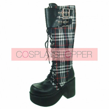 "Black-White 3.5"" Heel High Cute Patent Leather Round Toe Cross Straps Platform Girls Lolita Boots"