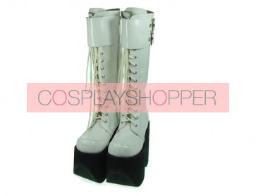 "White 6.0"" Heel High Charming Synthetic Leather Round Toe Cross Straps Platform Lady Lolita Boots"