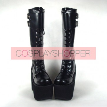 "Black 6.0"" Heel High Beautiful PU Round Toe Cross Straps Platform Lady Lolita Boots"